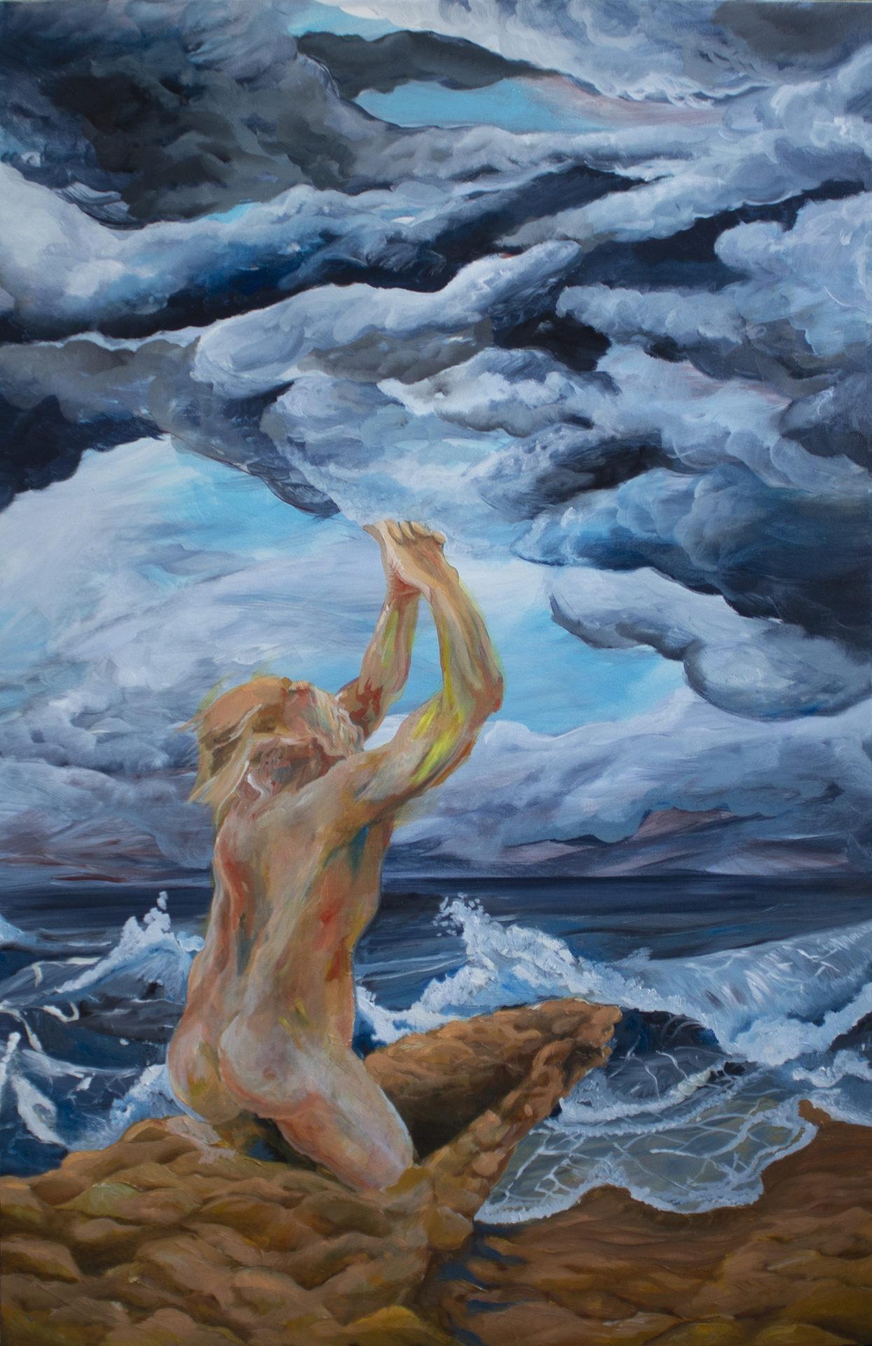 DIVINE PROVIDENCE, 2019, technique mixte : acrylique et huile sur toile, 114 x 75 cm