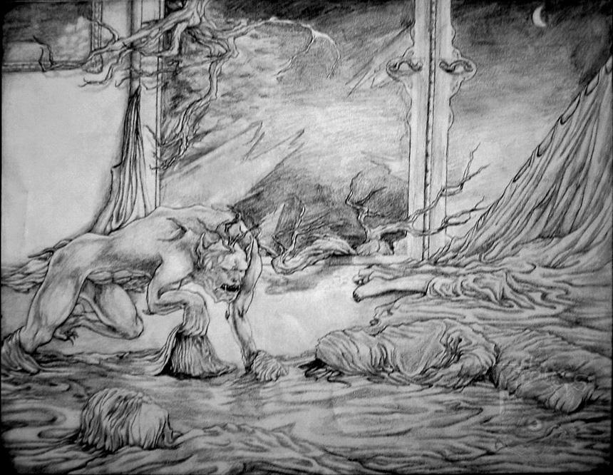 La nuit enveloppé, 2007, mine de plomb, fusain