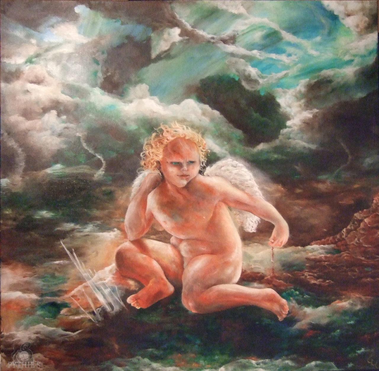 Le Petit Emmerdeur, mars 2012, huile sur toile, 100 x 100cm