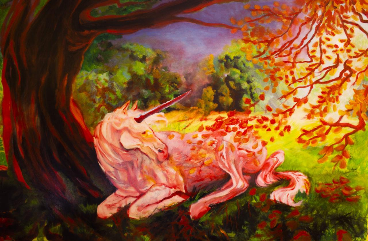 Licorne, juillet 2019, technique mixte: acrylique et huile sur toile, 75 x 115 cm