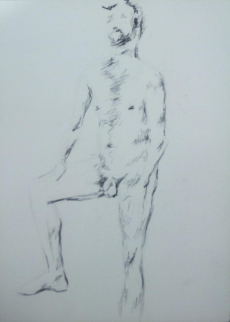 nu, 2015, fusain/graphite