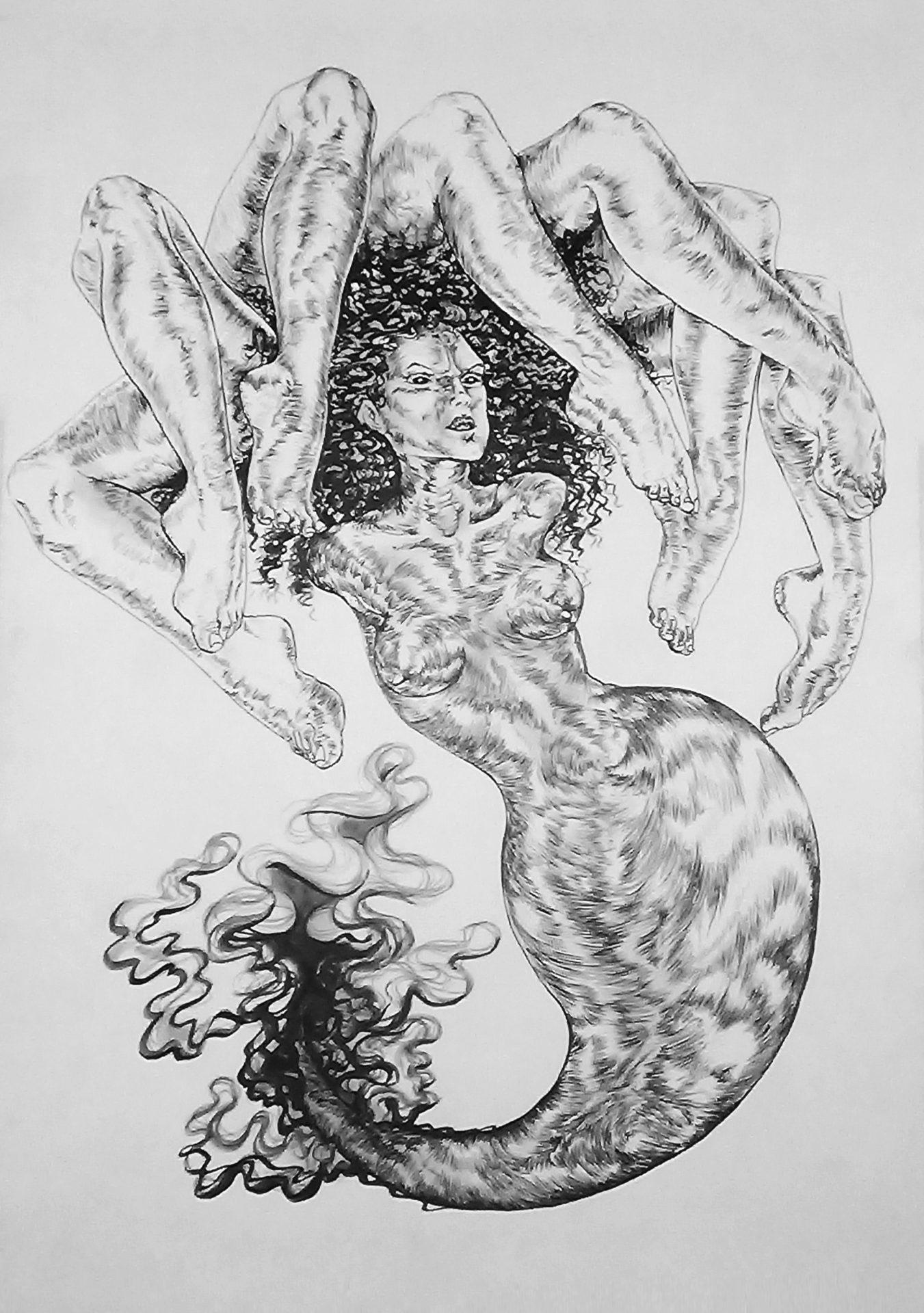 7 pieds sur mer, 2015, encre de chine, A3